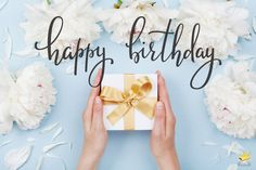 Happy birthday image with gift and flowers. Cool Happy Birthday Images, Happy Birthday Cake Photo, Happy Birthday Candles, Happy Birthday Gifts, Happy Birthday Greetings, Birthday Stuff, Happy Birthday Wishes Quotes, Birthday Wishes And Images, Best Birthday Wishes