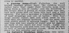 Vintage Recipe Famous Soup - 1912 Newspaper Magazine Clipping