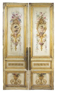 507: A Pair of Louis XVI Painted and Parcel Gilt Doors, : Lot 507