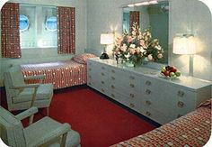 SS United States Interior | This is a standard, two-berth first class stateroom, with private bath ...