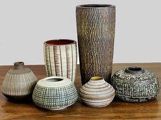 German modern mid-century ceramics with scrafitto surfaces. – 1960′s
