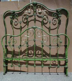 Original Apple Green paint on this Victorian style bed Antique Iron Beds Wrought Iron