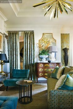 "Room in Atlanta, Georgia, designed  in 2010 by Hutton Wilkinson, The Tony Duquette Studios, Inc. in partnership with Atlanta Designer Stephen Boyd.  Fabrics include ""Tony Duquette for Jim Thompson Thai Silk.  The Tony Duquette ""California Sunburst""  chandelier is available through Remains Lighting.   atlantahomesmag.com"