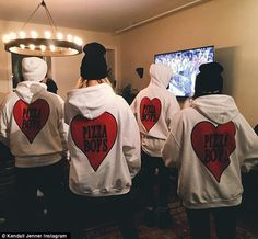 The best way to a person's heart! The 20-year-old captioned a snap of her group wearing Pizza Boy outfits, 'ZAZAXVDAY'