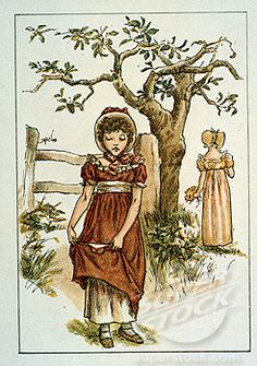 April by Kate Greenaway, illustration from Kate Greenaway's Almanac for 1895, (1846-1901)