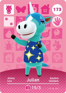 """Hey, <player>. I feel like we need more dancing happening now. Shoom! OK, that's a little better."" — Julian, Animal Crossing: New Leaf Julian (ジュリー, Julie ) is a smug horse villager in Animal Crossing: New Leaf, who resembles a unicorn, due to the horn on his head. It is possible his name comes from ""Julius"", of Julius Caesar, who claimed to be related to the Roman goddess Venus, reflecting Julian's astronomy theme. The feminine form of his name in the Japanese version was likely given…"
