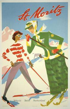 classic posters, free download, graphic design, retro prints, travel, travel posters, vintage, vintage posters, St. Moritz, Schweiz Suisse Switzerland - Vintage Ski Travel Poster