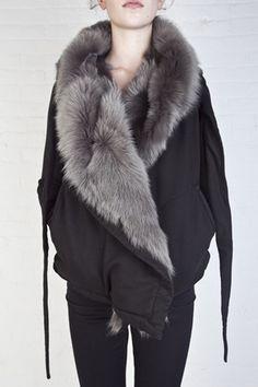Rick Owensfur hoodie - DRKSHDW