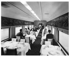 """Dining car aboard the """"Texas Chief,"""" train No. 15, southbound, enroute from Chicago to Dallas, Ft. Worth, and Houston (1956)"""