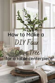 How to make a diy faux olive tree for a table centerpiece Vintage Inspired Bedroom, Faux Olive Tree, Bend And Snap, Easy Diy Projects, Craft Projects, Craft Ideas, Diy Ideas, Decor Ideas, Affordable Home Decor