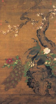File:Lü Ji Apricot Blossoms and Peacocks. 15 cent. National Palace Museum, Taipei.jpg