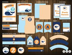 Orange & Navy Whale Birthday Party   Printable Set by mae14, $40.00