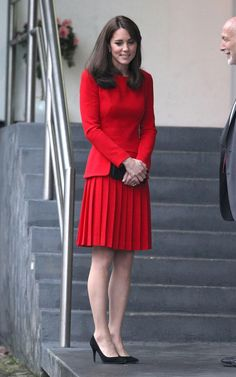 Kate Middleton, red is one of her best colors.