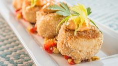 Chef Adam Roman's (Four Seasons Resort Lanai) Dungeness Crab Cakes with Corn Relish and Spicy Ginger Aioli Herb Roasted Potatoes, Roasted Vegetables, Crab Puffs, Les Croquettes, Corn Relish, Elegant Appetizers, Hot Pepper Sauce, Best Side Dishes, Island Food