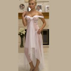 White elegant lingerie, White off the shoulder long gown detailed with lace and romantic white rose.