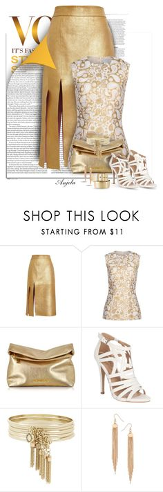 """""""Gold Leather"""" by anjelakewell ❤ liked on Polyvore featuring ASOS, Nina Ricci, STELLA McCARTNEY, Michael Kors, Jane Norman, BCBGeneration, Dorothy Perkins, Yves Saint Laurent and white"""