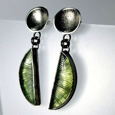 Sara Westermark, 2013. Carved Prehnite Leaf Earrings in sterling silver and prehnite