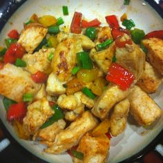 chicken with peppers and green onions all sauteed together in a skillet. only took 5-10 minutes!
