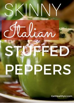 Skinny Italian Stuffed Peppers- Fill these green peppers with ground turkey, quinoa, red sauce and Italian seasonings and top with mozzarella cheese! Healthy and full of protein!!