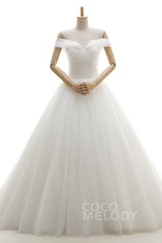 Modern A-Line Off The Shoulder Natural Chapel Train Tulle Ivory Sleeveless Wedding Dress Pleating JWLT16003 #weddingdresses #cocomelody