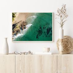 """This beautiful picture shows the famous surfspot """"The Pass"""" in Byron Bay, Australia. It's perfect for bringing some beach vibes and a fresh ocean breeze into your home. Australia Beach, Beach Print, High Resolution Picture, Byron Bay, Beach Photography, Landscape Art, Picture Show, Printing Services, Breeze"""