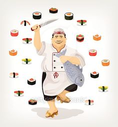 Japanese chef with sushi. Vector flat illustration