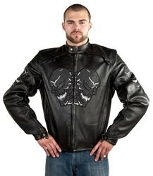 Mens Laughing Skulls Leather Motorcycle Jacket Discount Price: $155.00 You save 68.30%