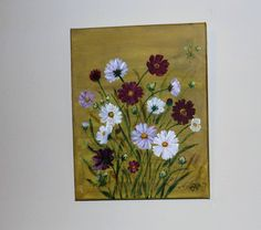 Bouquet of Field Flowers Original Acrylic Stretched Canvas Painting, Floral painting, Spring flowers, Wild flowers, Red Pink white flowers by dianasjoy on Etsy Pink And White Flowers, Red And Pink, Pink White, Spring Flowers, Wild Flowers, Canvas Painting Projects, Stretched Canvas, Bouquet, The Originals
