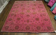 8×10 Overdyed Hot Pink Rug Peshawar Chobi 2837