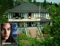 """A look inside the big old house in New Westminster, British Columbia, where the new Netflix movie """"Dangerous Lies"""" was filmed. Porch Supports, New Netflix Movies, Practical Magic House, Upstairs Landing, The Great Fire, Real Kitchen, Bedroom Fireplace, Hip Roof, Entry Hall"""