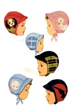 A 1950s Knitting PATTERN. Knit O Graf 100 Children's Hats ( Helmets or Bonnets ). There are five designs; a Cat, a Dog, a Pistol or Gun, a Duck and Plaid of any color that you choose. There are adjustments for sizes 2 to 6. Your pattern will be printed on 8.5x11 inch copy paper and placed in a vinyl sheet protector. This pattern was first printed 1952 and passed in to public domain in 1980. | eBay!