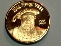 1/2 oz. .999 Fine Copper Bullion, King Henry VIII Coin of The Realm 1 Crown. FREE SHIPPING