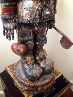 TinMan by Michael deMeng Wizard Of Odds, Found Art, Creepy Art, Assemblage Art, Sculpture Art, Metal Sculptures, Box Art, Easel, Art Tutorials