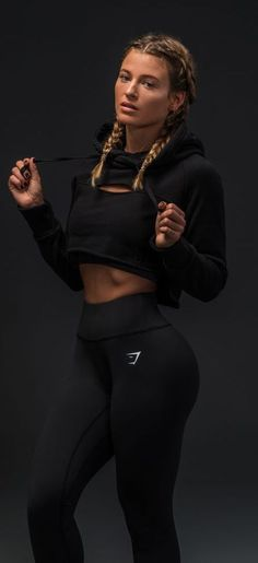 Gymshark Athlete, Meggan Grubb, sporting the Cropped Raw Edge Hoodie. Get ready … Gymshark Athlete, Meggan Grubb, sporting the Cropped Raw Edge Hoodie. Get ready – Blackout is coming. Shop all your favourite styles. Fitness Outfits, Fitness Fashion, Sporty Fashion, Fitness Wear, Fitness Life, Girl Fashion, Workout Attire, Workout Wear, Workout Tanks