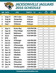 Jacksonville Jaguars Football Schedule. Print Schedule Here - http://printableteamschedules.com/NFL/jacksonvillejaguarsschedule.php