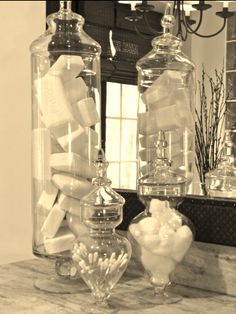 "Use soap from Costco to decorate with. Love the exposed bars of soap...gives the bathroom a ""clean"" feel. I really want these jars"