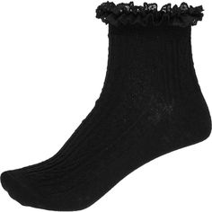 River Island Black frilly ankle socks ($5.15) ❤ liked on Polyvore featuring intimates, hosiery, socks, accessories, shoes, socks/tights, black, ruffle socks, frilly ankle socks and frilly socks