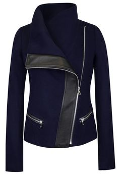 The Funnel-Neck Jacket in Navy Wool/Black Leather