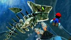 Mario Galaxy prehistoric skeleton shark