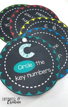 CUBES method is a strategy used by many educators to help students solve math word problems. This includes circles that are made into a portable aid for students to use when solving word problems! Now comes with poster sized circles for displays!