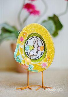 Cute altered egg frame using a Crafty Secrets digital image!
