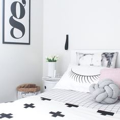 Bedroom decor | Crosses & Grids | Pinks and greys  Marble European size cushion by @fridayafternoon_sundaymorning   grid pillow from @seekandstyle