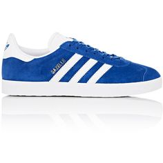 adidas Women's Women's Gazelle Suede Low-Top Sneakers (880 MAD) ❤ liked on Polyvore featuring shoes, sneakers, adidas, blue, suede shoes, low profile sneakers, rubber sole shoes, round cap and striped sneakers