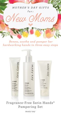 Every new mom needs to take some time each day to pamper herself. For Mother's Day, gift her an easy, three-step system that helps keep hands feeling renewed, soothed, and pampered. Also available in a peach-scented formula! | Mary Kay
