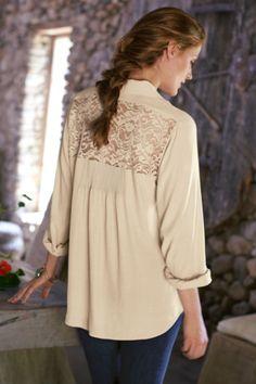 Simonetta Shirt - Ladies Long Sleeve Shirt, Open Back Shirt, Notch Collar Shirt | Soft Surroundings