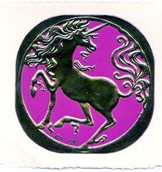 Rare Vintage Illuminations Embossed Foil Unicorn Sticker 1982 via Etsy