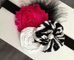 Pink white black hairbow
