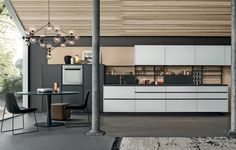 Cozinha lacada com puxadores MY PLANET by Varenna by Poliform Kitchen Dinning, Wooden Kitchen, New Kitchen, Kitchen Island, Kitchen Sale, Kitchen Backsplash, Küchen Design, House Design, Design Ideas