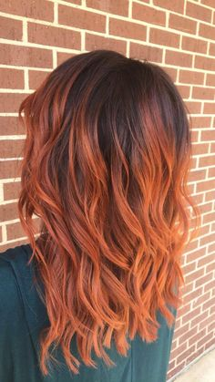 Copper red Balayage hair style, copper hair color for auburn ombre brown amber balayage and blonde hairstyles