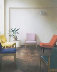 @hannayujin - _ _.  interior with chairs in three primary colours _ by paul winstanley  .#momentswithsunday #paulwinstanley #inspo #HANNAYUJIN #losangeles #korea